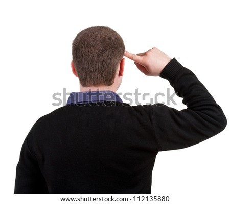 Rear view people collection. Back view of thinking business man. Close up. gesticulating adult businessman in black suit .  backside view of person.  Isolated over white background.