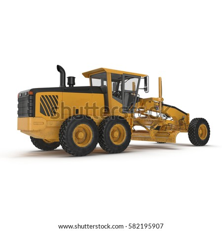 Rear view Road grader - heavy earth moving road construction equipment on white. 3D illustration