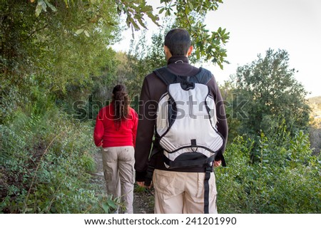 Rear View shot of two couple hiking through nature - stock photo