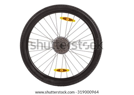 Rear wheel with gear train for mountain bike isolated on white background
