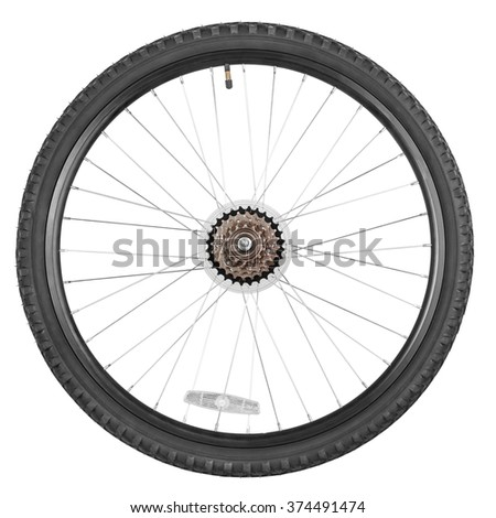 Rear wheel with gear train for mountain bike isolated on white background with clipping paths