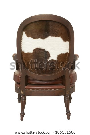 rear wood armchair with cow skin isolated on white - stock photo