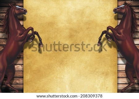 Rearing Horses Copy Space Design. Wooden Background and Two Rearing Horses.