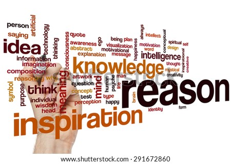 Reason word cloud concept with knowledge idea related tags - stock photo