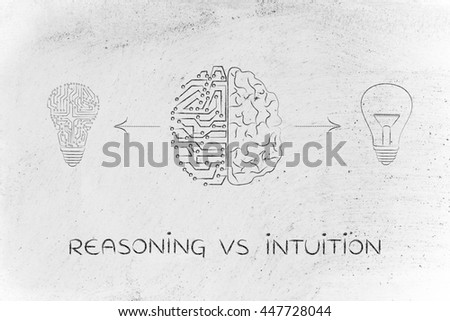 reasoning vs intuition: human and artificial brain producing different types of ideas (lightbulb symbol and circuit version)