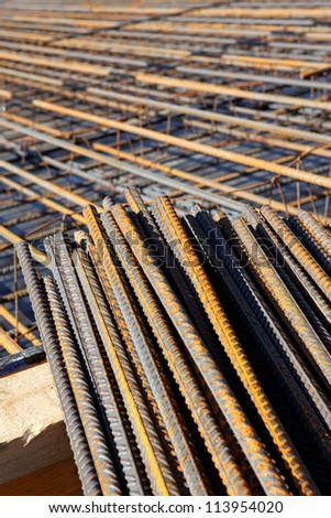 rebar on the building site - stock photo