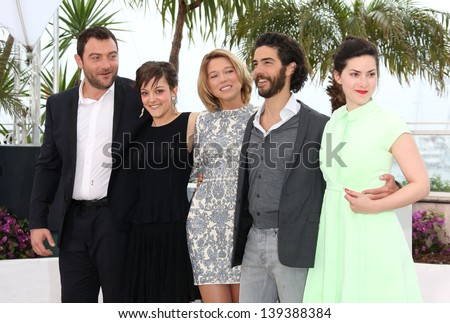Rebecca Zlotowski, Tahar Rahim, Lea Seydoux, Camille Lellouche and Denis Menochet at the 66th Cannes Film Festival - Grand Central photocall 18/05/2013