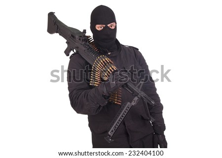 rebel in black uniforms with machine gun isolated on white - stock photo