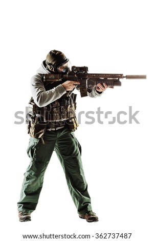 rebel man with gas mask and rifles against a white background