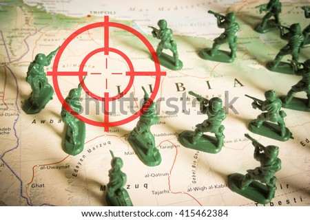 Rebels as invaders on Libya territory - stock photo