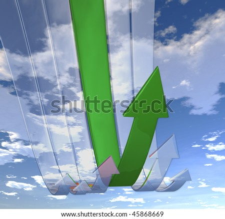 Rebounding Green arrows (on background of blue skies)
