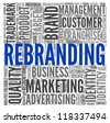 Rebranding and marketing concept in word tag cloud on white - stock photo