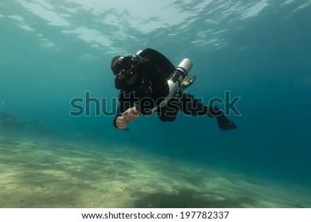 Rebreather diver in the Red Sea