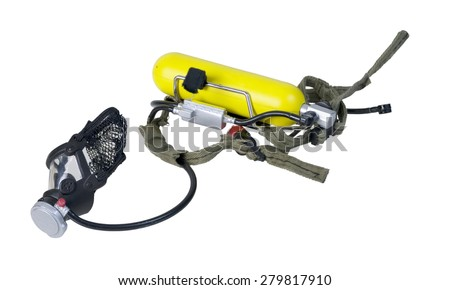 Rebreather used by Emergency Personnel such as Fireman - path included - stock photo