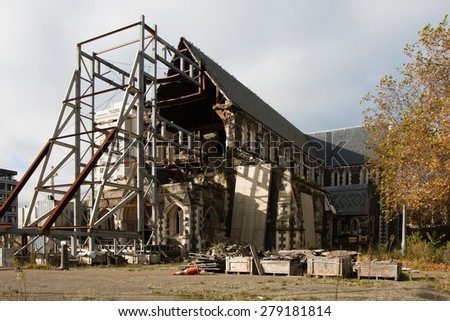 Rebuilding of Christchurch Cathedral demolished by earthquake in February 2010, New Zealand - stock photo