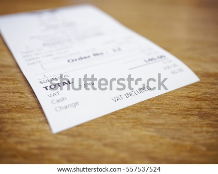 Receipt Bill Payment on table Total amount Business Consumer Shopping