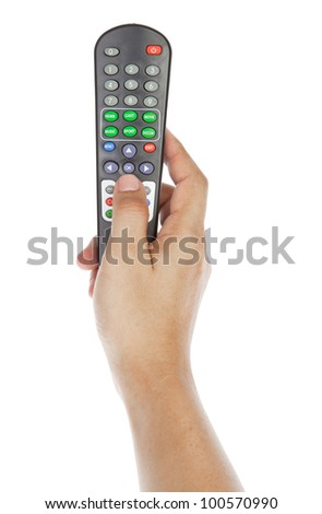 Receiver remote control. Isolated and hand - stock photo
