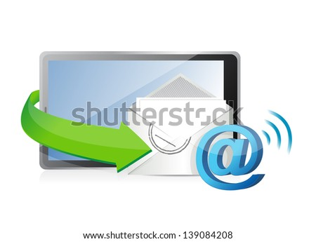 receiving an email. illustration design over a white background - stock photo