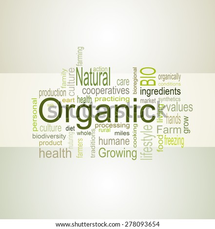 Recent words related to the cultivation of organic food and natural organic food