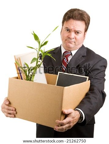 Recently fired businessman holding a cardboard box filled with his belongings.  Isolated on white. - stock photo