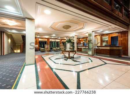 Reception area and lobby in luxury hotel - stock photo
