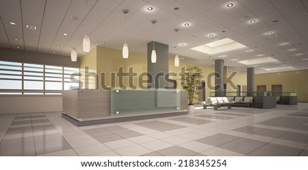 reception area in clinic - stock photo