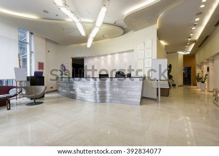 Reception area with reception desk