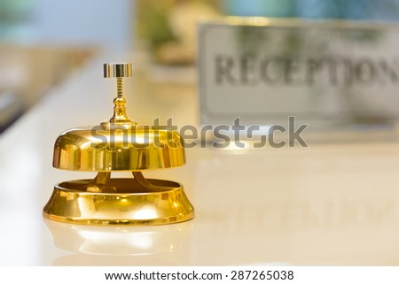 Reception Bell at the hotel - stock photo