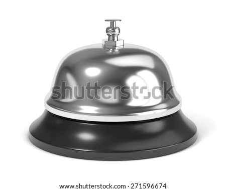 Reception bell with button isolated on white background - stock photo