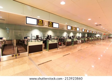 reception ( check in registration ) at the international airport - stock photo
