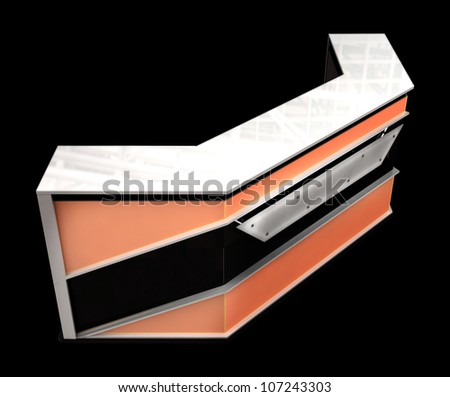 reception counter with orange elements