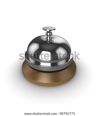 Reception desk bell, isolated on a white background.
