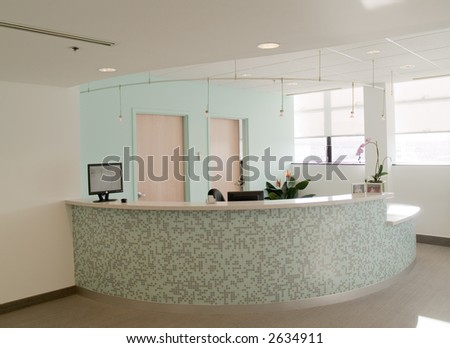 Reception desk in a medical office - stock photo