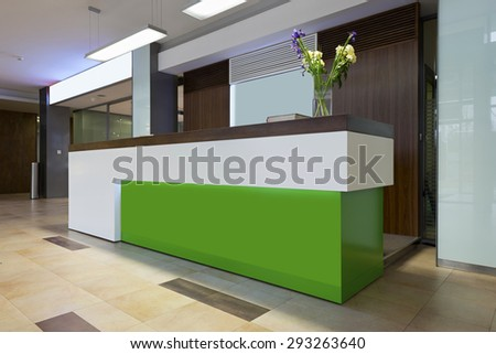 Reception desk in business building - stock photo