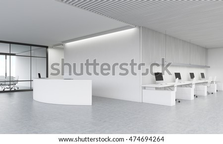 Reception desk in lobby. Meeting room and office area in background. Concept of modern company office. 3d rendering. Mock up