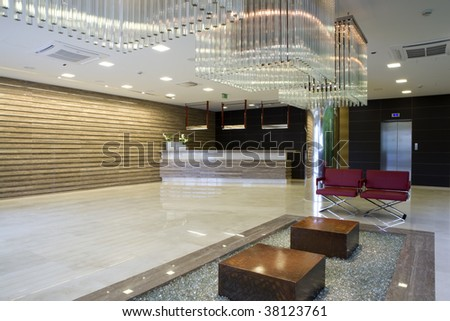 reception desk in luxury interior