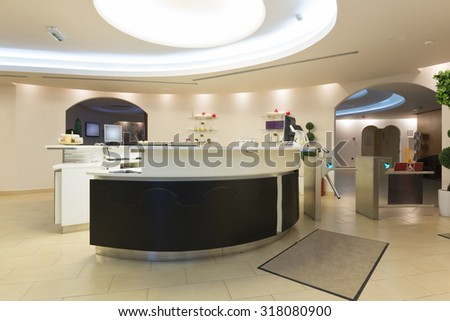 Reception desk in spa center