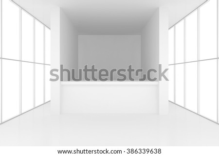 reception desk in white room with windows. 3d render - stock photo