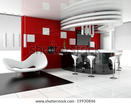 reception in modern hotel 3d image - stock photo