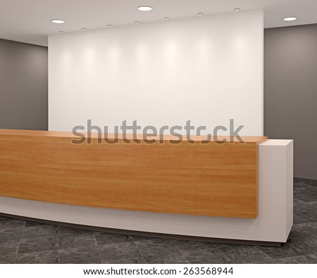 Reception in modern office.3d render. - stock photo