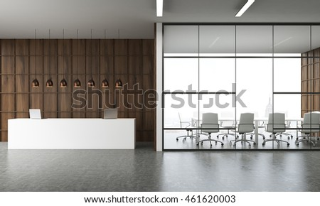 Reception in modern office interior in New York. Large table with laptops, several lamps above it. Conference room by side. Wooden wall. Concept of business negotiations. 3d rendering.