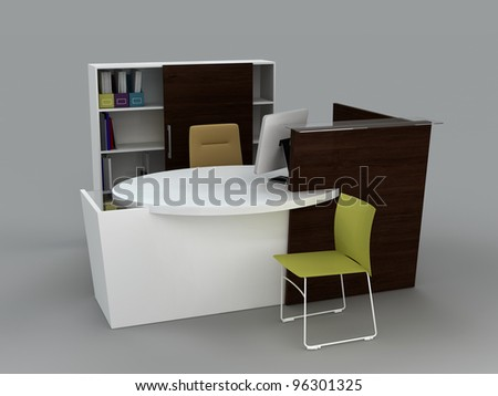 Reception office on a gray background