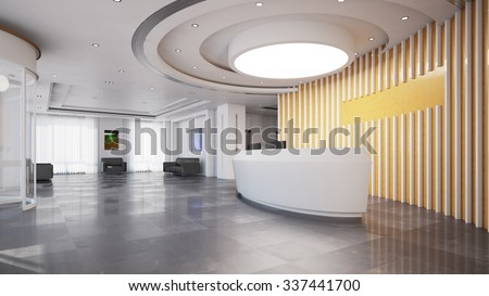 Reception or check-in in elegant modern business hotel - stock photo