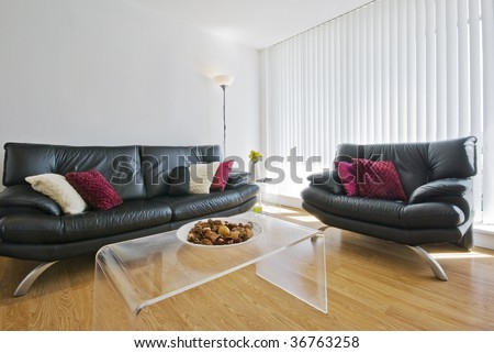reception room with two leather sofas