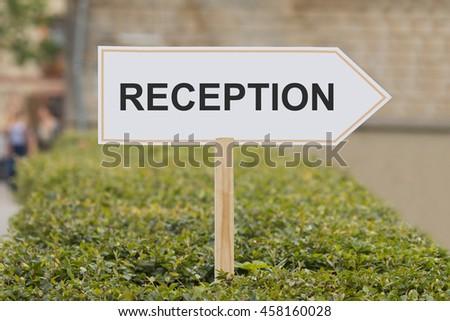 reception signpost - stock photo