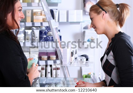 Receptionist talking with a customer