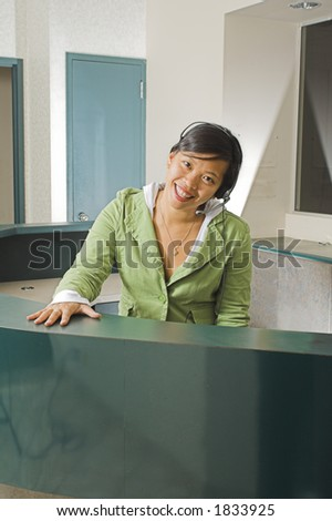 receptionist with a smile