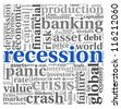 Recession and crisis concept in wort tag cloud on white background - stock photo