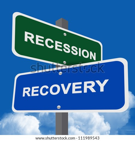Recession and Recovery Traffic Sign On Blue Sky Background