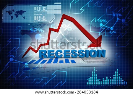 recession arrow - stock photo